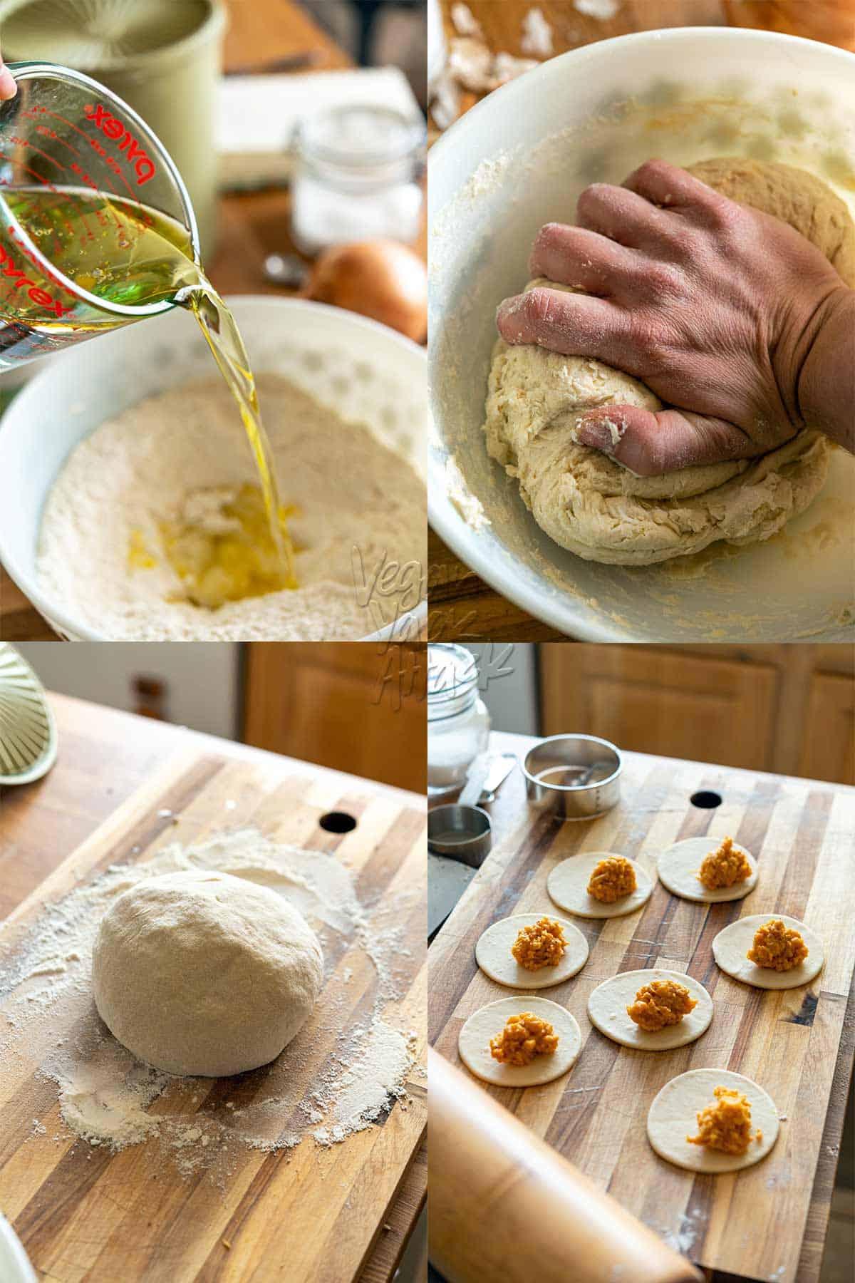 Image collage of preparing pierogi dough