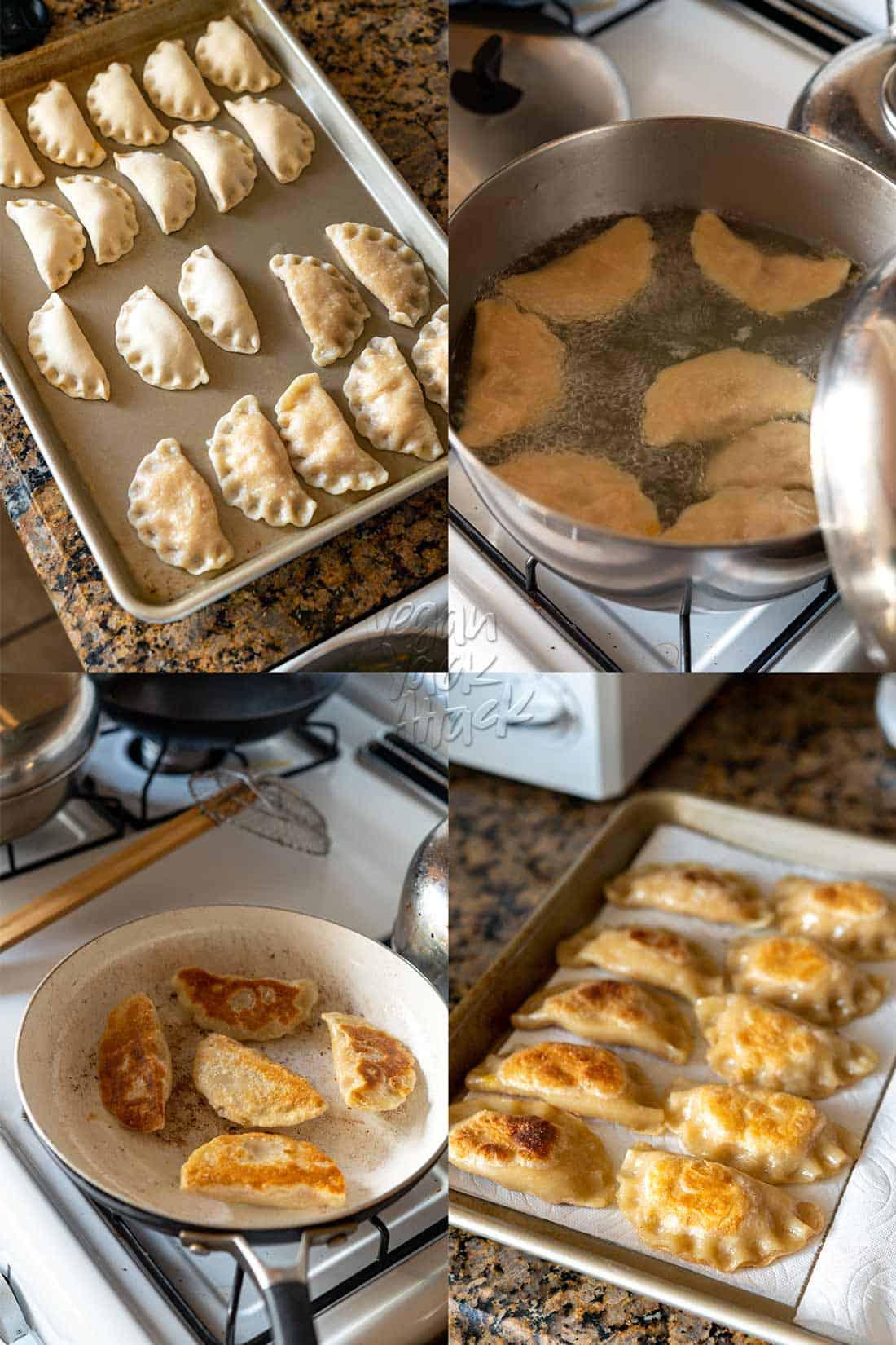 Image collage of boiling and frying potato pierogi