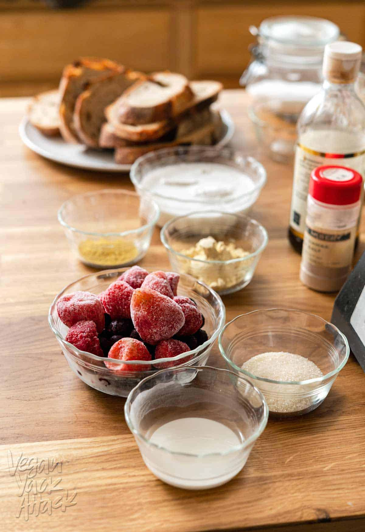 Image of ingredients for recipe laid out on a wood table
