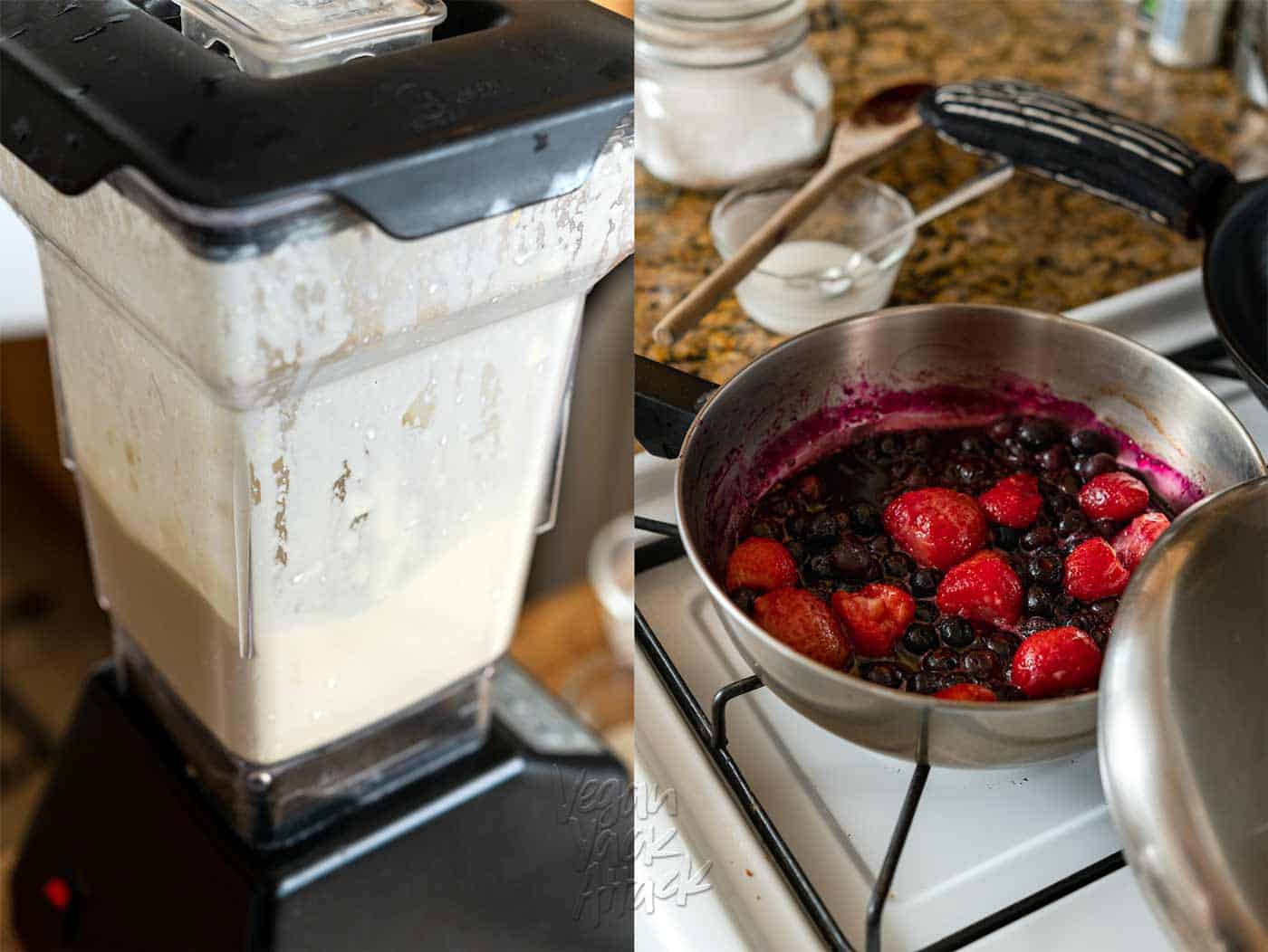 Image collage of blender processing batter and berry topping in a sauce pan