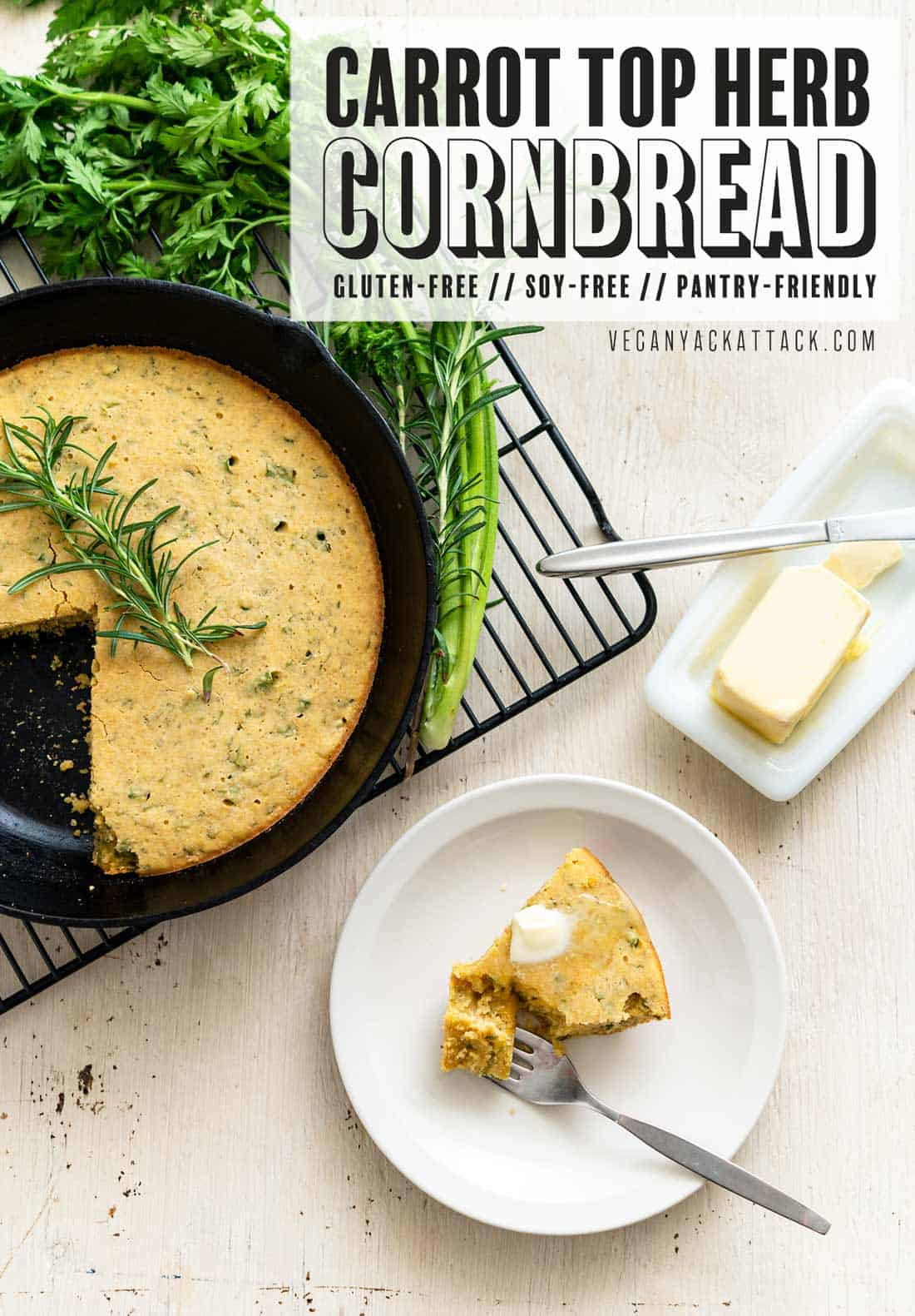 """Image of skillet cornbread on a cooling rack with a slice taken out, with text reading """"Carrot Top Herb Cornbread"""""""