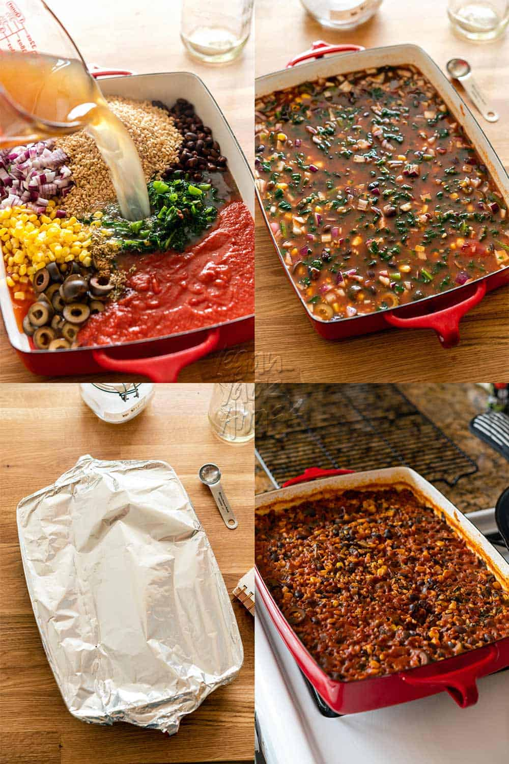 Image collage of assembly of rice bake in a red casserole dish