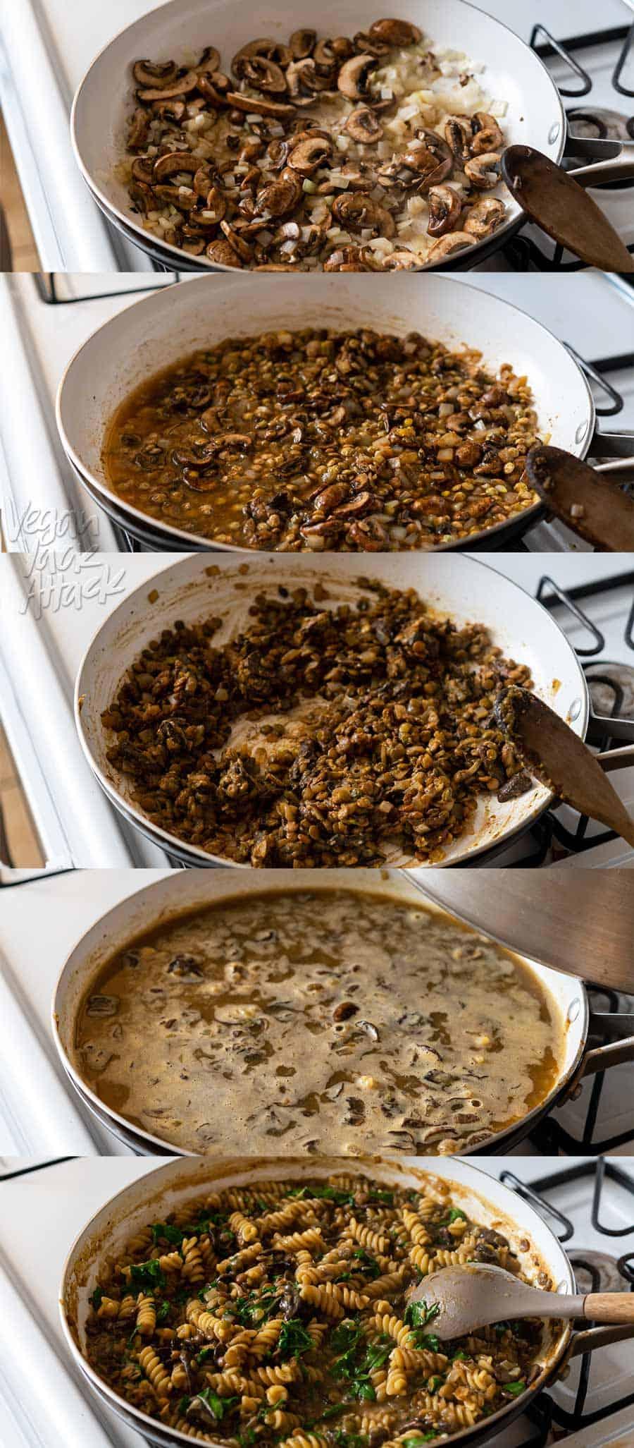 Image collage of steps in cooking vegan pasta dish