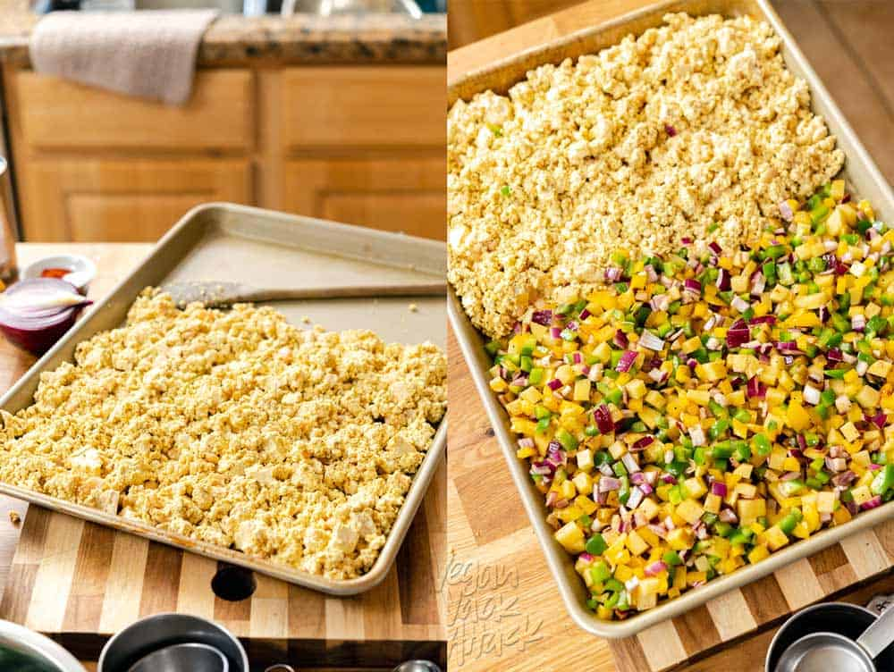 Image collage of getting the meal ready to go in the oven