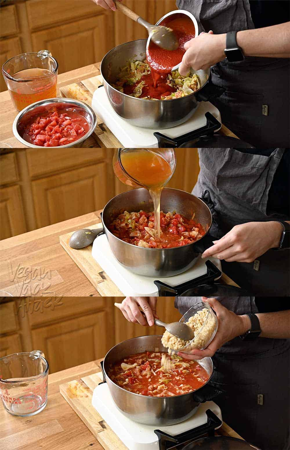 Image collage of person pouring ingredients into a pot