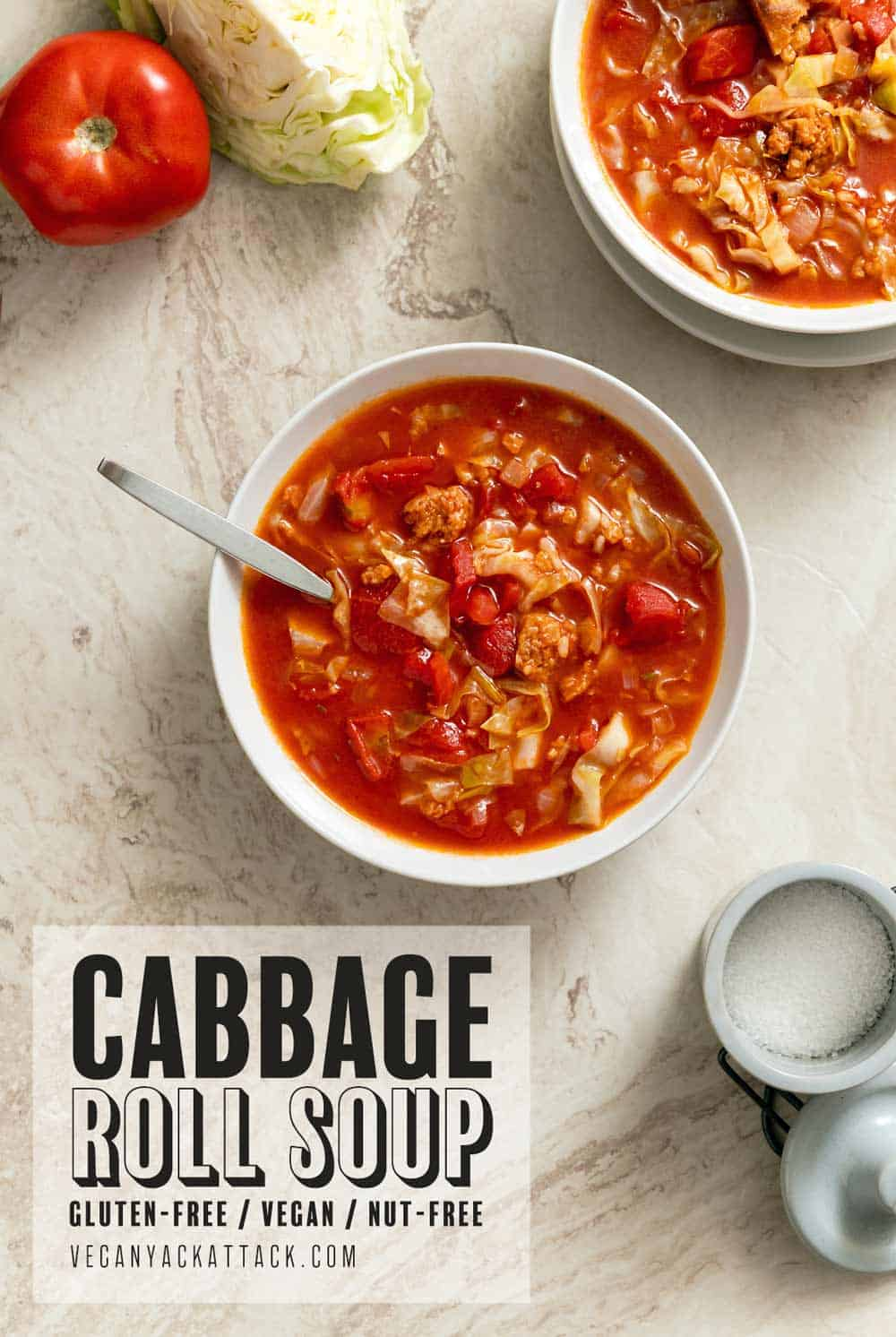 Two bowls of cabbage roll soup on a marble background