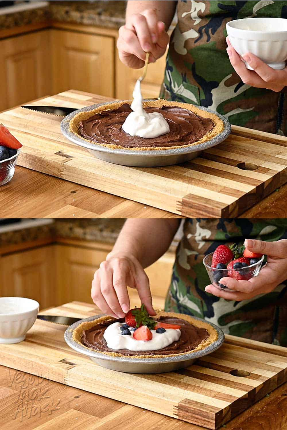 Topping chocolate pie with whipped cream and berries