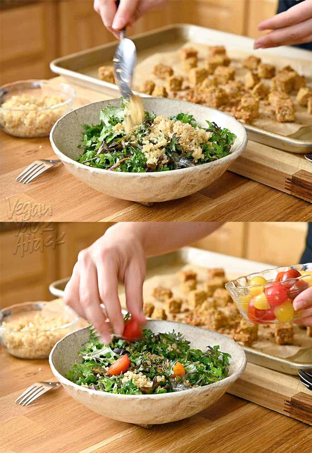 Image collage of adding quinoa and tomatoes to massaged kale