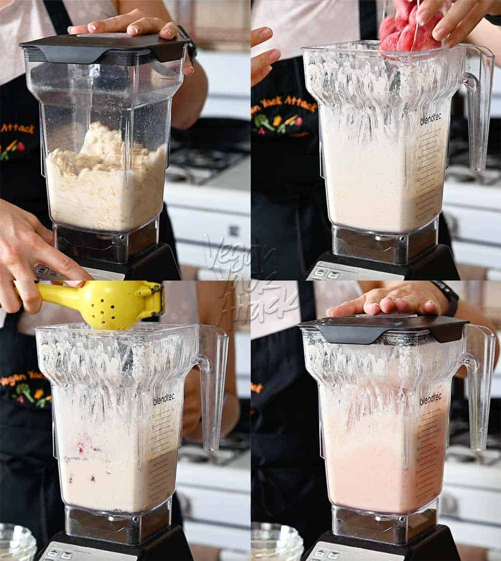 Image collage of ingredients being added to a blender and pureed