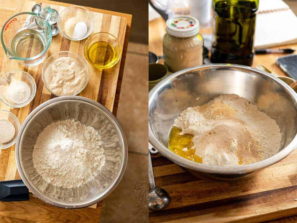 Ingredients to make sourdough flatbread