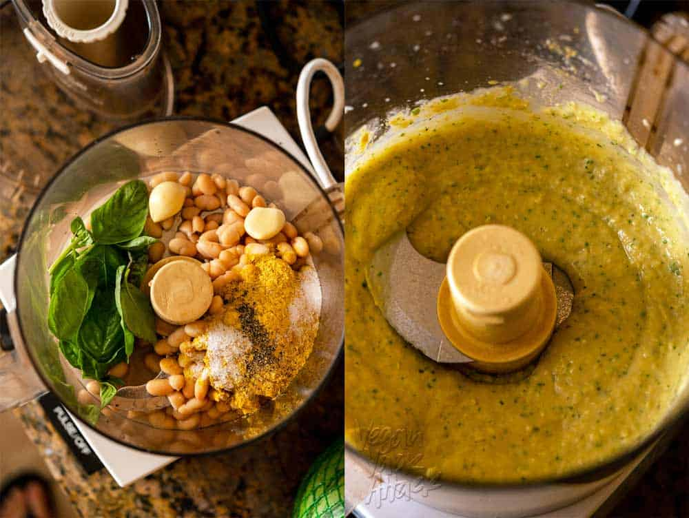 Image collage of making white bean basil spread