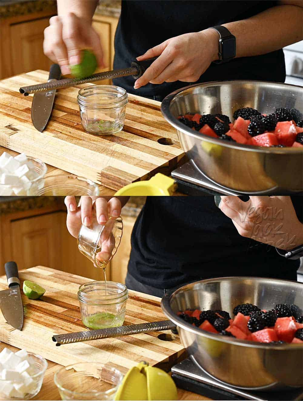 Image collage of zesting lime and adding agave nectar to vinaigrette
