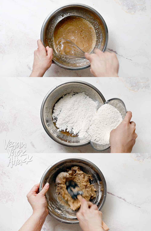 Image collage of making vegan cookie dough