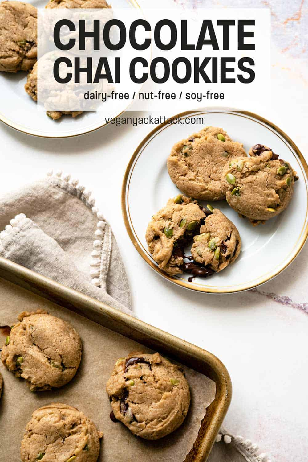"""Cookies on a baking sheet with plate of cookies next to it and text reading """"Chocolate Chai Cookies"""""""