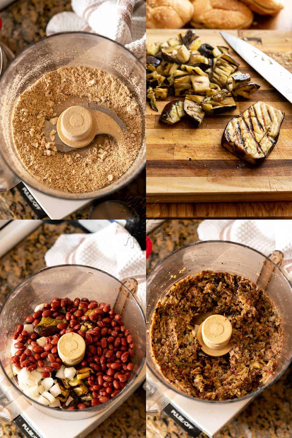 Image collage of using food processor to make eggplant burger patties