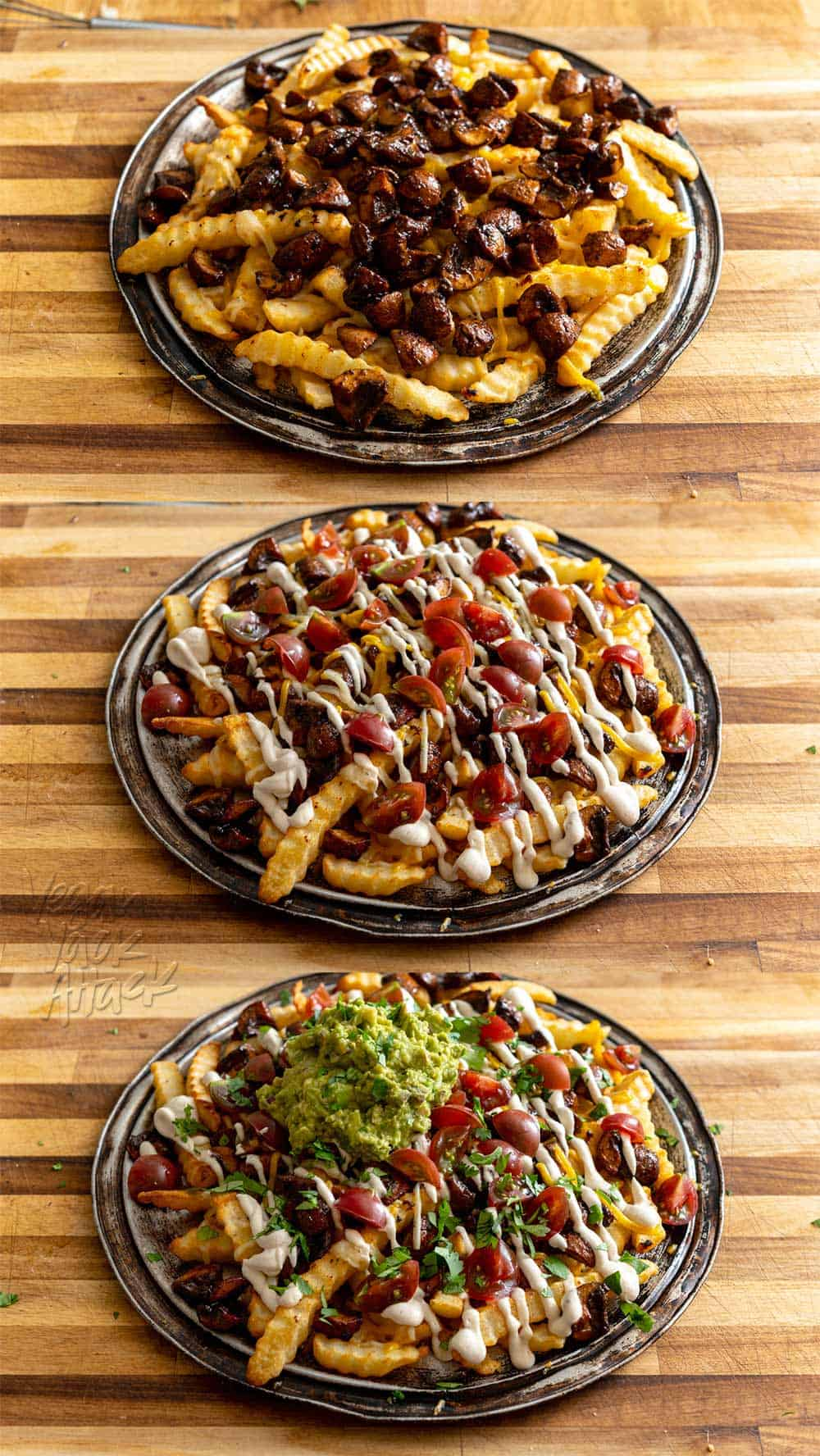 Steps in assembling a platter of mushroom asado fries