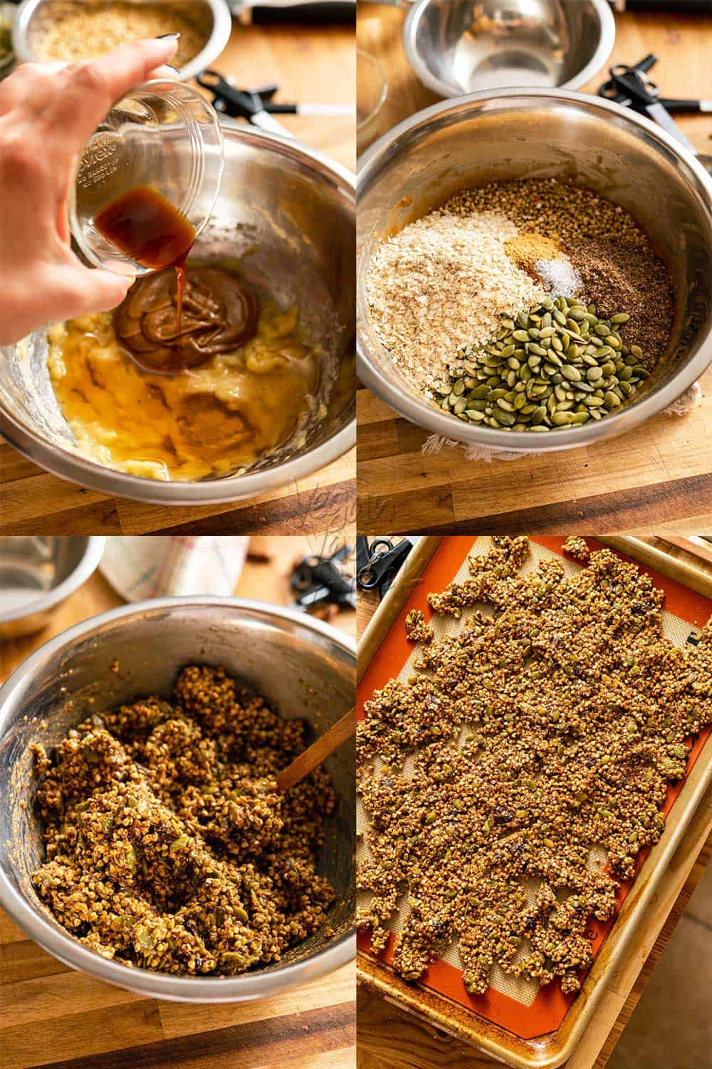 Image collage of mixing and stirring granola