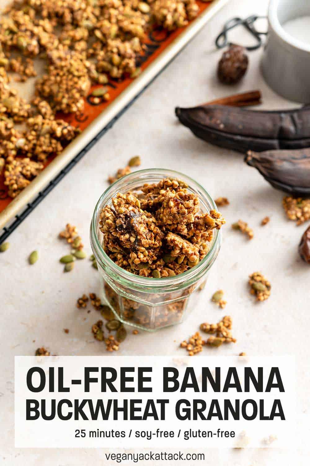 "Jar of granola next to ingredients and baking sheet with text ""Oil-free Banana Buckwheat Granola"""