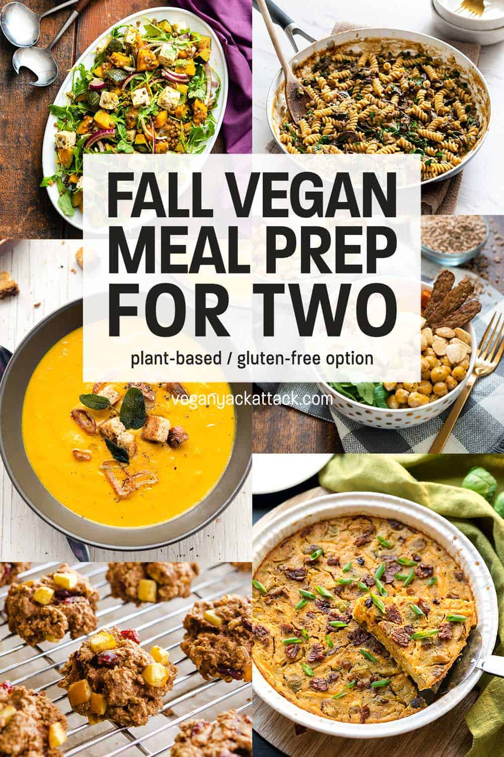 """Image collage of vegan dishes with text reading """"Fall Vegan Meal Prep for Two"""""""
