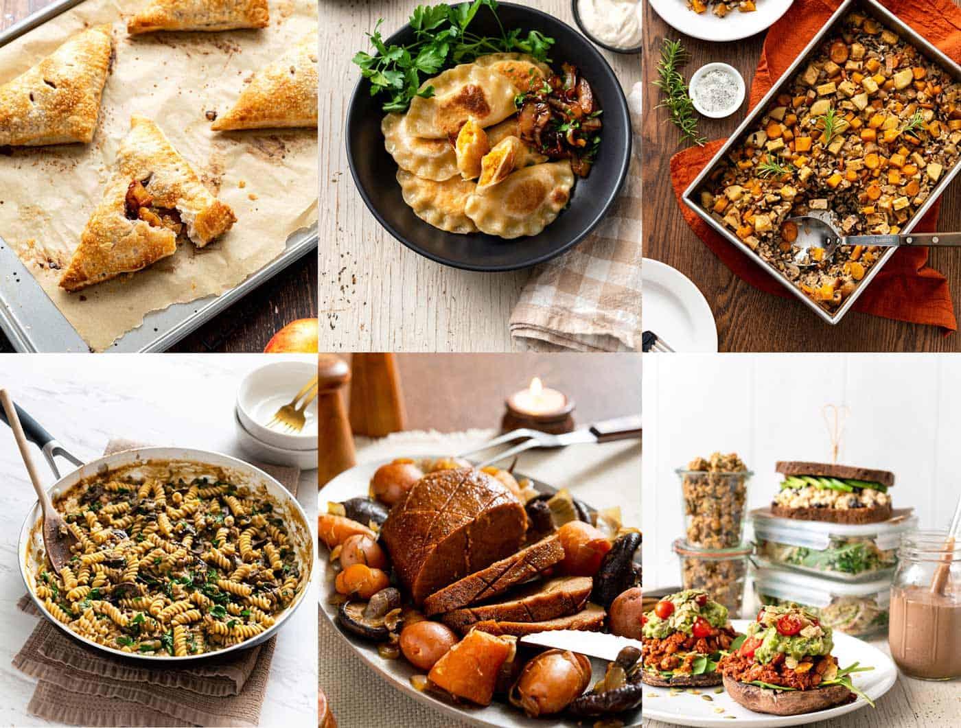 Image collage of various vegan recipes, like pierogi, seitan roast, meal prep, and pasta