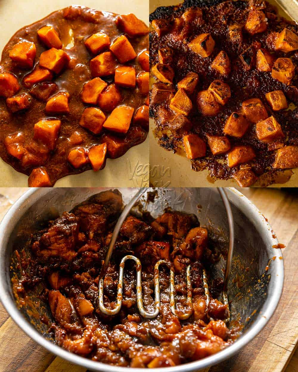 Image collage of roasting persimmons in brown sugar, then mashing them