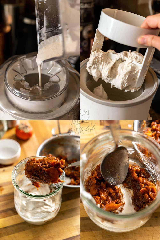 Image collage of assembling vegan ice cream