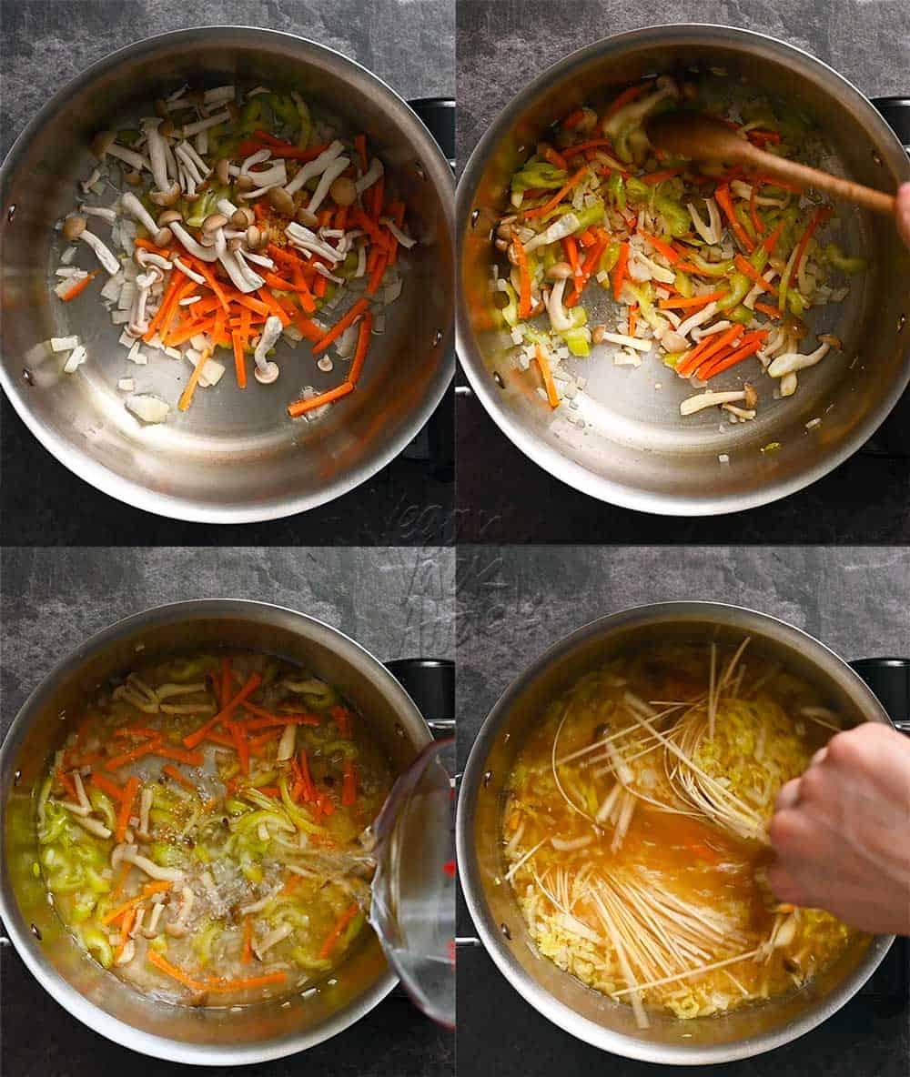 Image collage of sautéing vegetables and making noodle soup