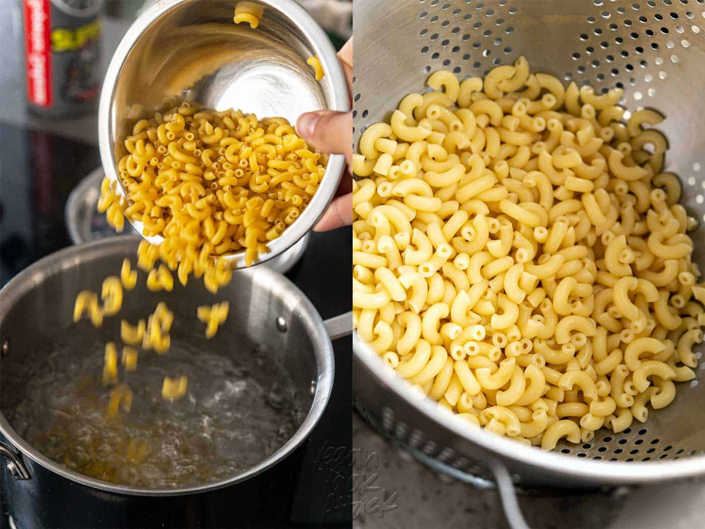 Image collage of pasta being added to boiling water, then drained pasta