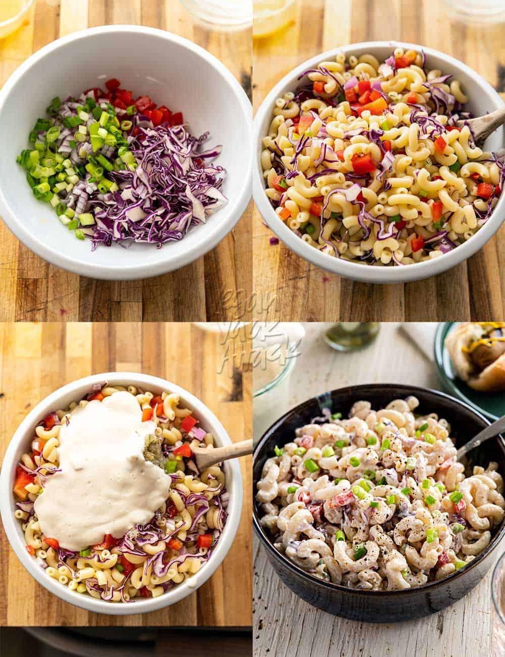 Image collage of assembling vegan macaroni salad in a bowl